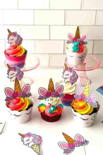 finished rainbow unicorn cupcakes