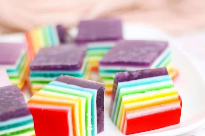 squares of rainbow jello