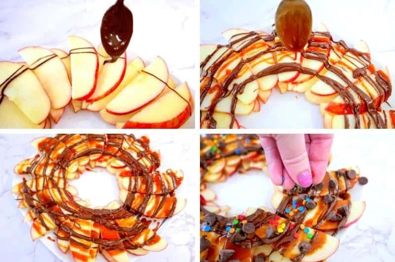 adding toppings to apple nachos
