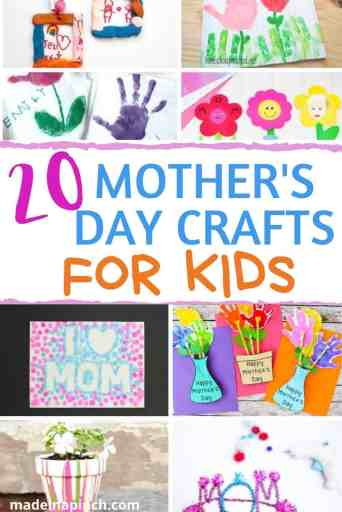 Mother's Day crafts for kids pin image