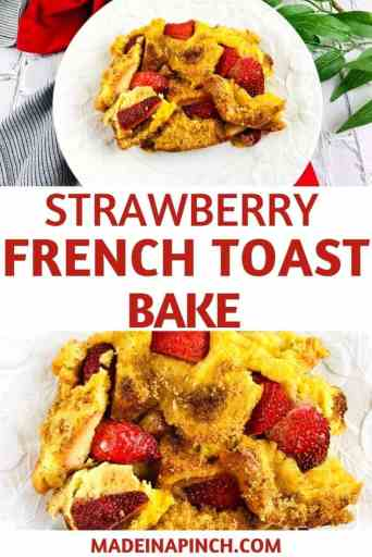 strawberry french toast casserole pin image