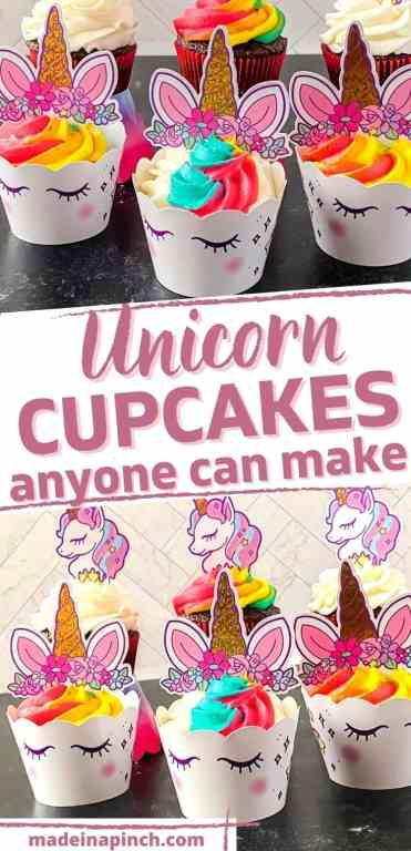 Everything about unicorns is all the rage right now! These unicorn cupcakes are PERFECT for celebrating a birthday, brightening someone's day, or just enjoying something special! This unicorn cupcake recipe is SO easy that anyone can make them quickly and easily! #unicorn #cupcakes #birthday| Made in A Pinch @madeinapinch