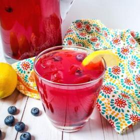 homemade blueberry lemonade in a glass