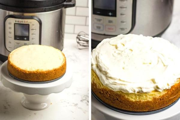 adding the topping to the cheesecake process collage