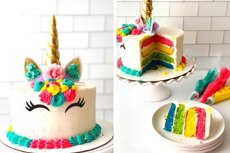 unicorn cake decorating final collage image