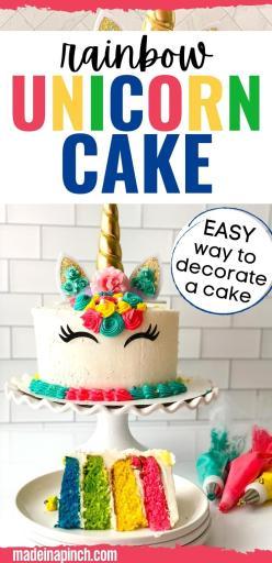 rainbow unicorn cake long pin image
