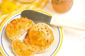 dandelion jelly on English Muffin closeup