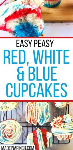 easy peasy red, white, and blue cupcakes long pin image