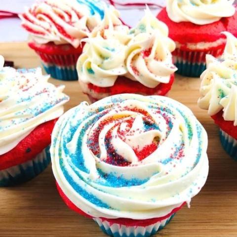 red, white, and blue cupcake closeup