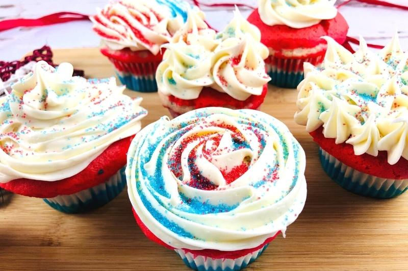 closeup of red white blue cupcakes