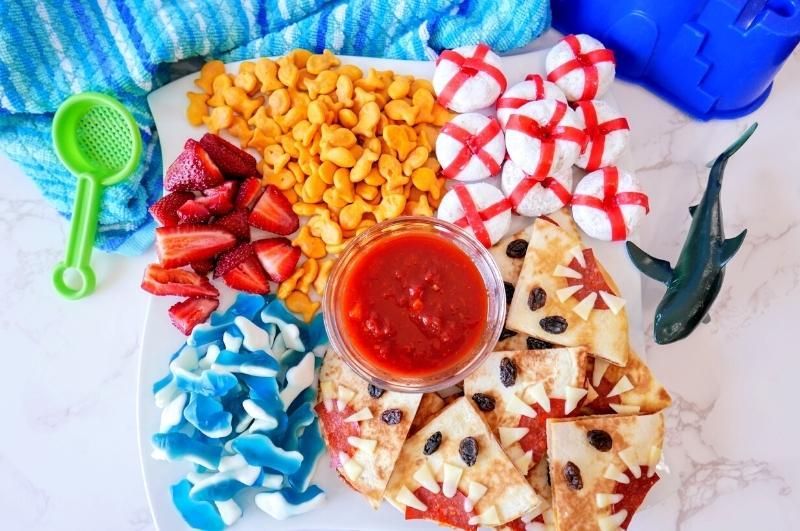 finished shark party food idea: shark charcuterie