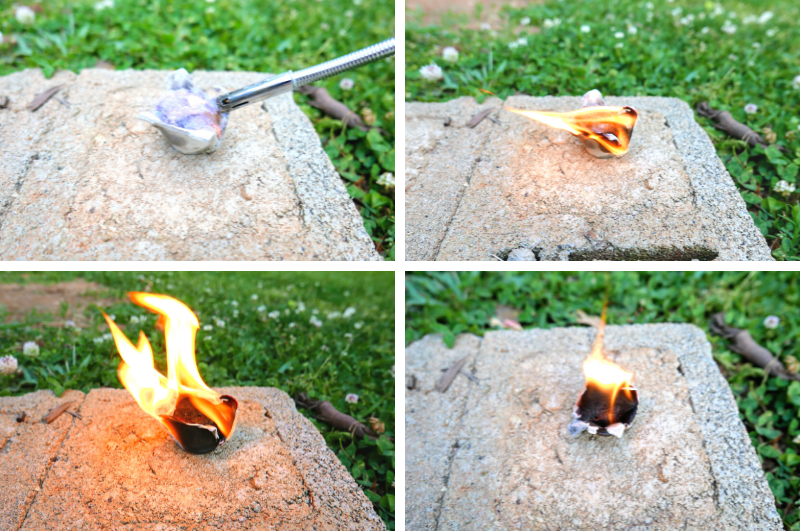 collage image of burning process for homemade fire starters