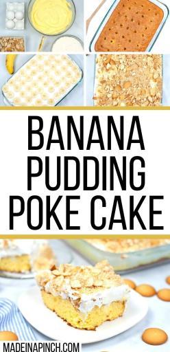 banana cream poke cake long pin image