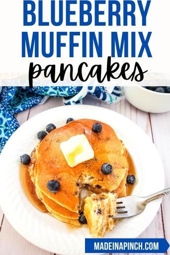 Blueberry muffin mix pancakes pin image
