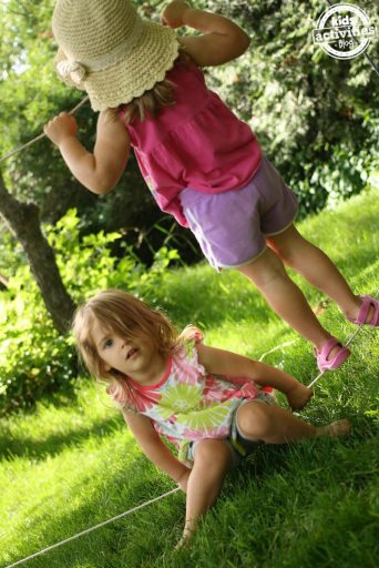 outdoor tight rope activity for families