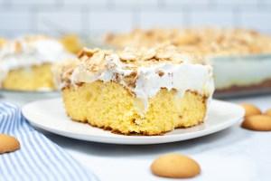closeup of banana cream poke cake