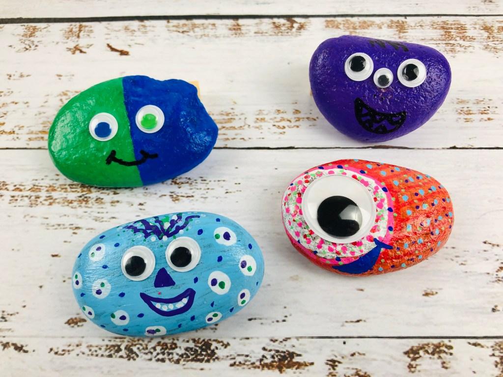 finished easy pet rocks craft for kids