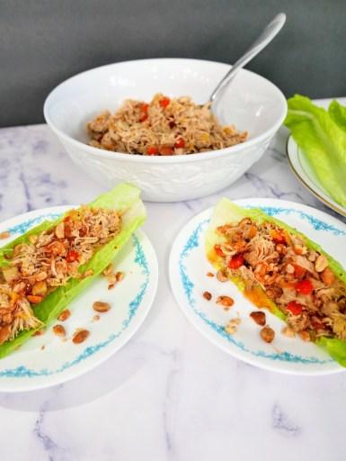lettuce wraps on plates