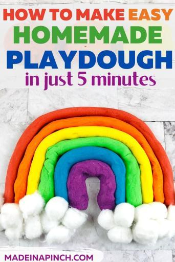 easy homemade playdough recipe pin image