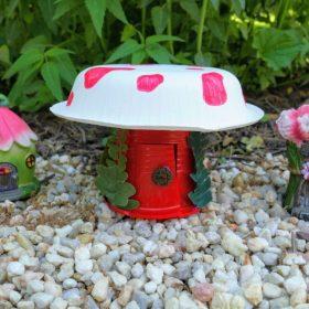 finished mushroom fairy house