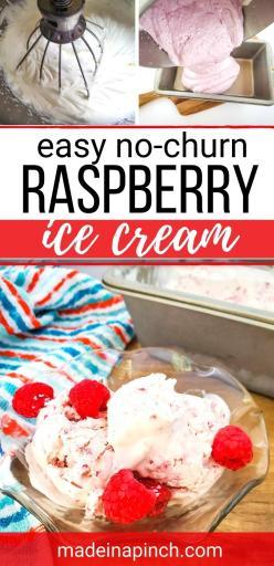 no churn raspberry ice cream long pin image