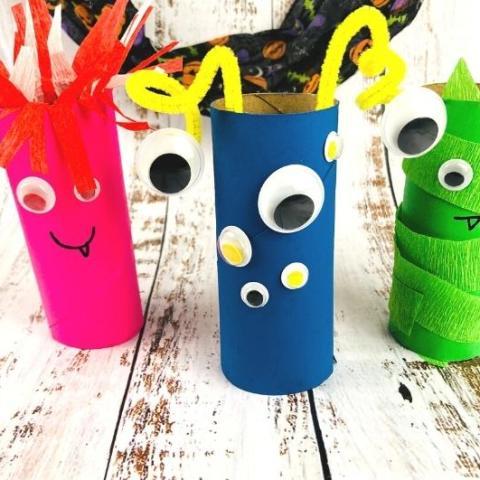 Toilet Paper Roll Monsters Halloween Craft