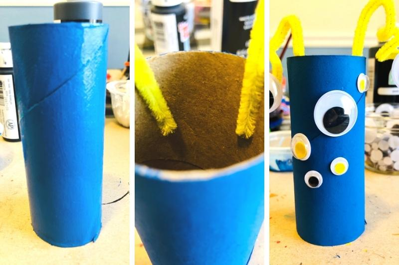 how to make toilet paper roll monsters process collage