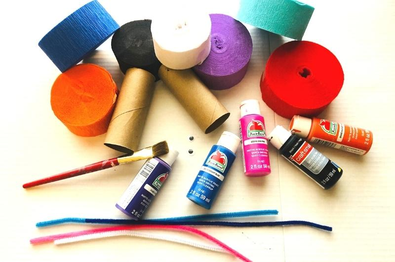 supplies to make toilet paper roll monsters
