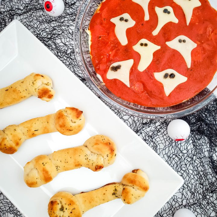 Halloween bone breadsticks on a plate