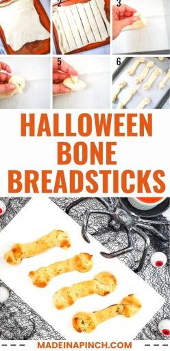 Halloween bone breadsticks pin image