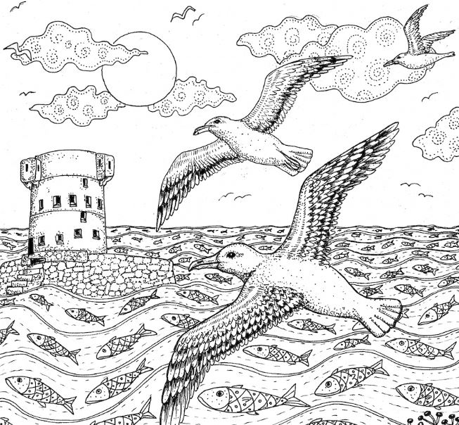 Free High Tide at Archirondel Drawing to Download & Colour