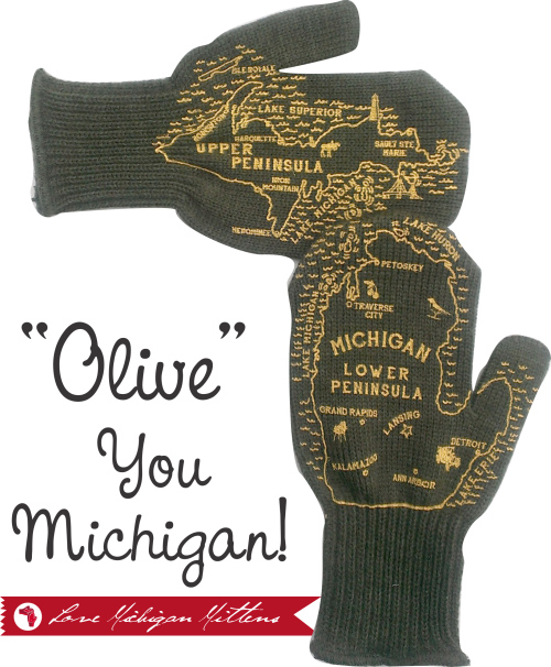 michigan mittens olive green