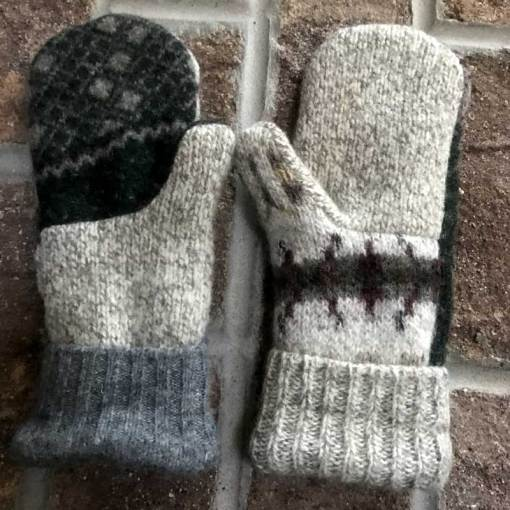 Tan and Gray Repurposed Wool Mittens