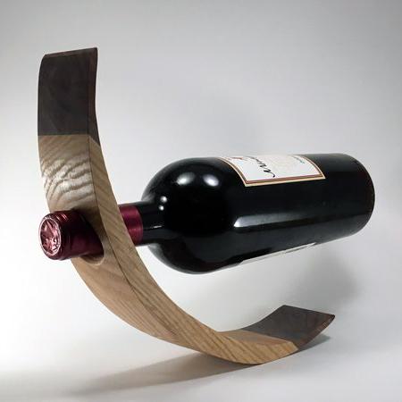 Solid Wood Curved Wine Bottle Holder