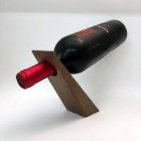 Solid Black Walnut Wedge Wine Bottle Holder