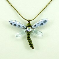 Blue and Silver Dots Baby Dragonfly Necklace