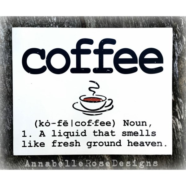 Dictionary Definition of COFFEE Word Art Sign