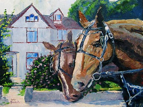 Horses of Mackinac Island Oil Painting
