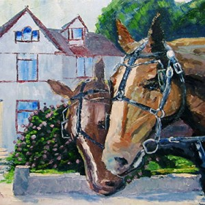Horses of Mackinac Island Oil Painting