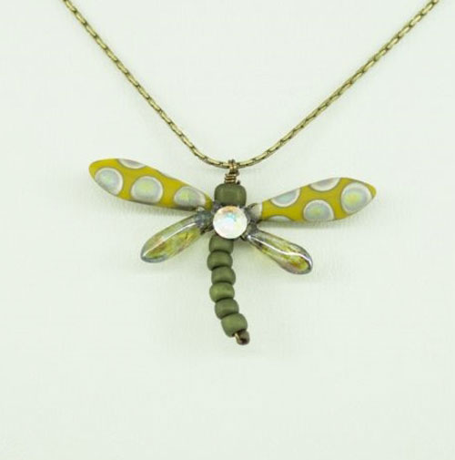 Mustard Peacock Baby Dragonfly Necklace