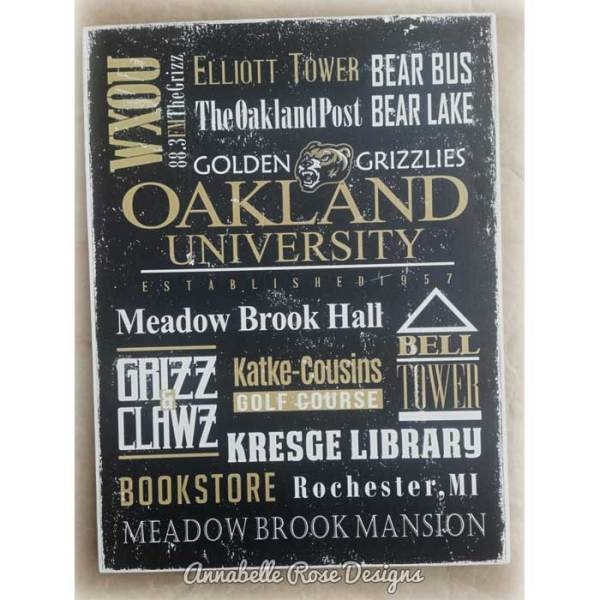 OU ~ Oakland University Word Art Sign