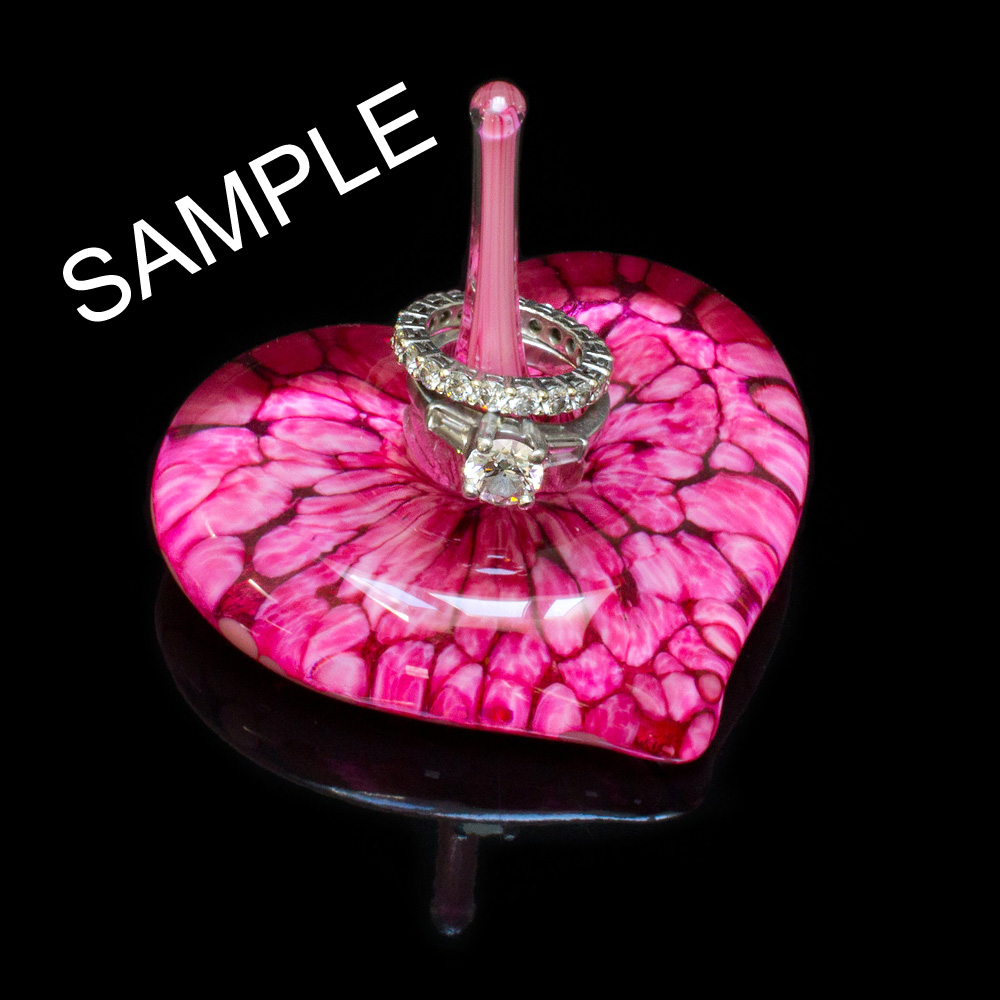 Sample Blown Glass Heart Ring Holder