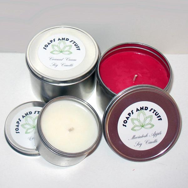 coconut cream and macintosh apple candle tins