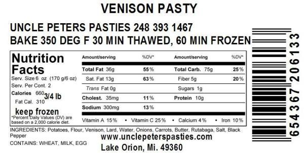 Venison Pastie Ingredients