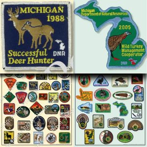 Michigan Deer Patch Poster & Michigan Turkey Hunter Patch Poster Combo