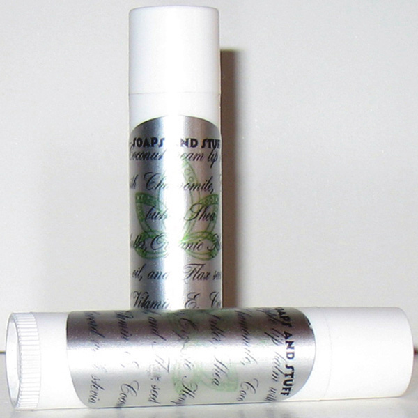 all natural lip balm in Macintosh Apple and Coconut Cream