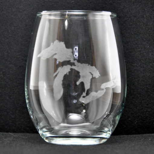 Laser Engraved Michigan Great Lakes Stemless Glass