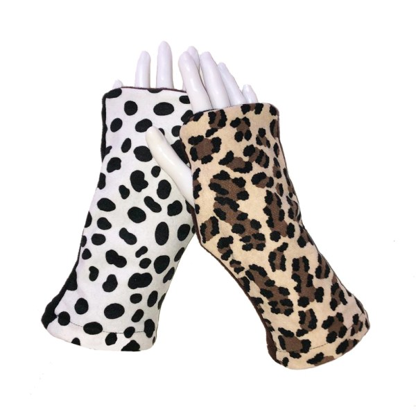Cheetah Dalmatian Fingerless Gloves cheetah dalmation mix shown