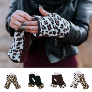 Cheetah Dalmatian Reversible Fingerless Gloves