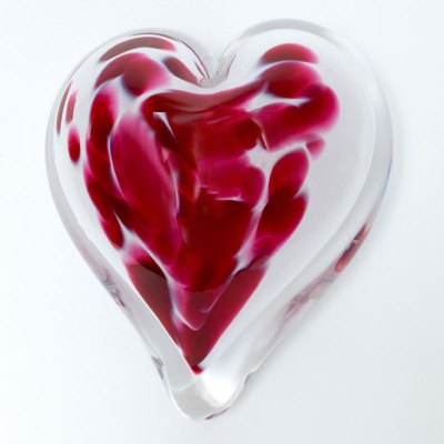 Forget Me Not Blown Glass Heart Paperweight